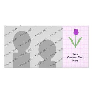 Purple Tulip Flower. Customized Photo Card