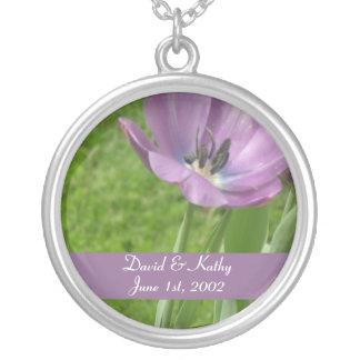 Purple Tulip Flower Necklace
