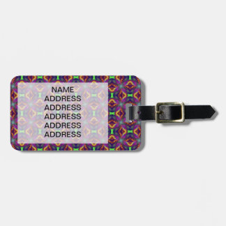 Purple Tulip Fractal Patterned Luggage Tag