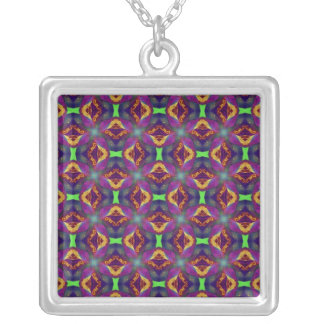 Purple Tulip Fractal Patterned Silver Plated Necklace