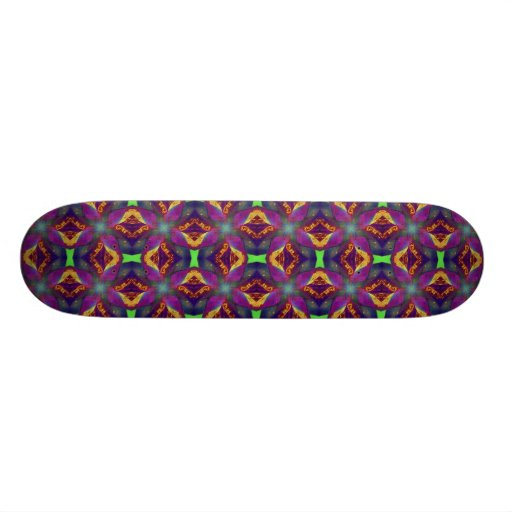 Purple Tulip Fractal Patterned Skate Board Deck