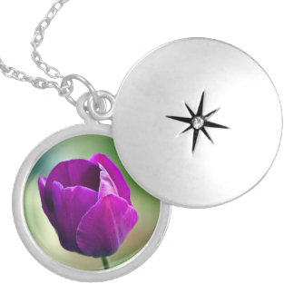 Purple Tulip Locket Necklace