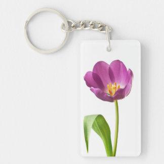 Purple Tulip on White Customized Template Double-Sided Rectangular Acrylic Key Ring