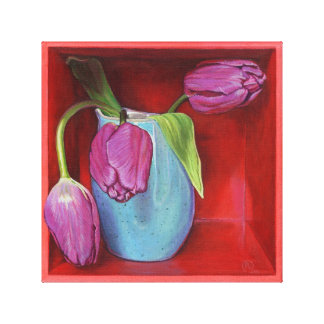 Purple Tulip Still-life Painting Wrapped Canvas Canvas Print