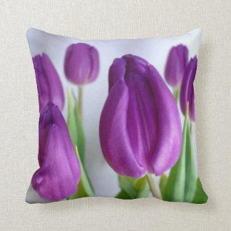 Purple Tulip Throw Pillow Cushion