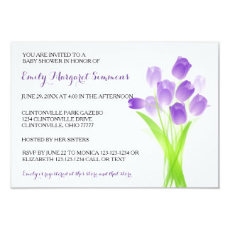 Purple Tulips - 3x5 BABY Shower Invitation