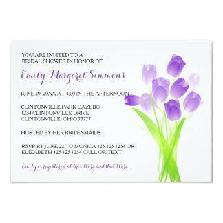 Purple Tulips - 3x5 Bridal Shower Invitation