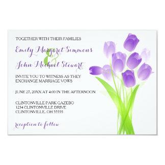 Purple Tulips - 3x5 Wedding Invitation