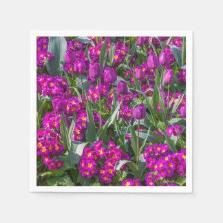 Purple tulips and primroses paper napkin