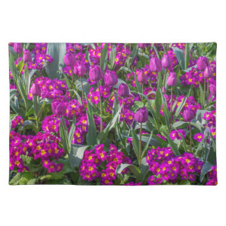 Purple tulips and primroses placemat