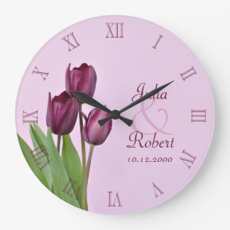 Purple tulips anniversary clocks