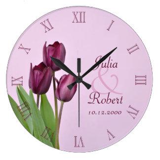 Purple tulips anniversary large clock