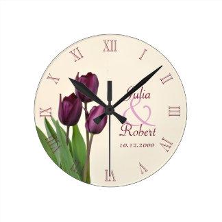 Purple tulips anniversary round clock