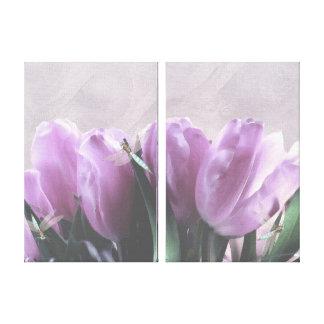 Purple Tulips Aqua Dragonflies Canvas Wall Decor Canvas Prints