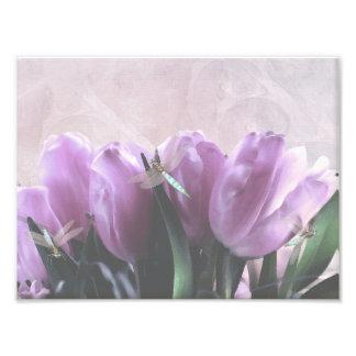 Purple Tulips Aqua Dragonflies Print Photo Art