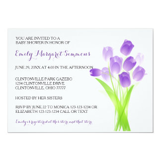 Purple Tulips - BABY Shower Invitation