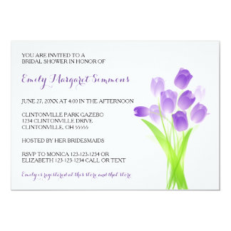 Purple Tulips - Bridal Shower Invitation