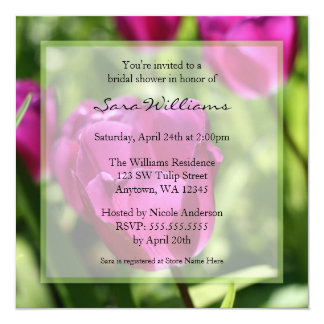 Purple Tulips Bridal Shower Invitations