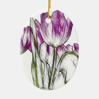 Purple Tulips Christmas Ornament