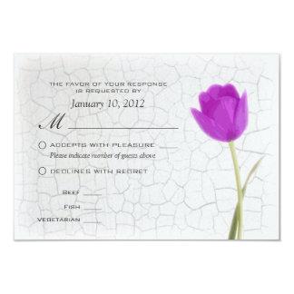 Purple Tulips Crackle Paint RSVP w/ Meal Options 9 Cm X 13 Cm Invitation Card