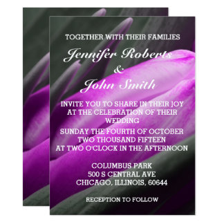Purple Tulips Flower Photo Cool Wedding Invitation