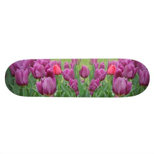 Purple Tulips Flower Skateboard