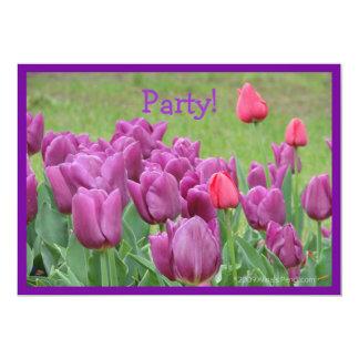 "Purple Tulips Flowers Beautiful Blooms 5"" X 7"" Invitation Card"