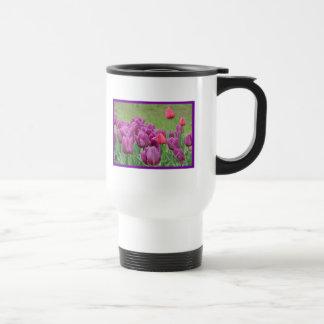 Purple Tulips Flowers Beautiful Blooms Stainless Steel Travel Mug