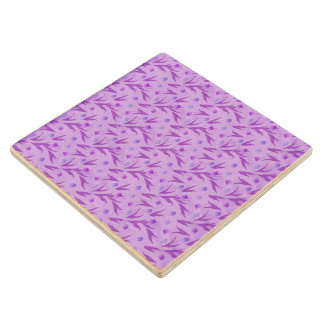 Purple Tulips For Awareness Maple Wood Coaster
