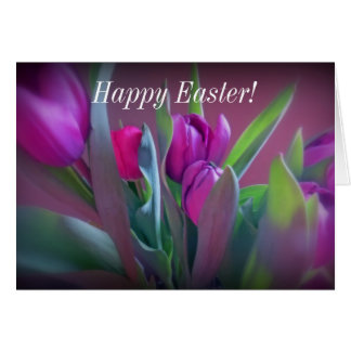 Purple Tulips Happy Easter Card