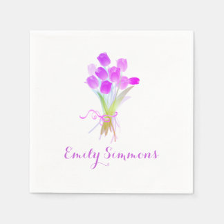 Purple Tulips & Name - Cocktail Napkin Paper Napkin