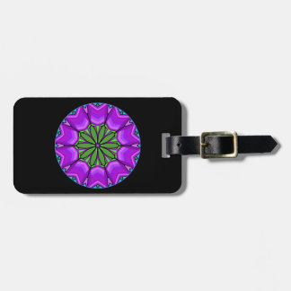Purple tulips on a black background luggage tag