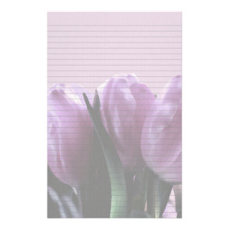 Purple Tulips Optional Lined Note Paper Personalized Stationery