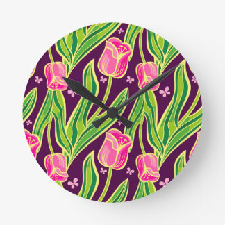 Purple tulips round clock