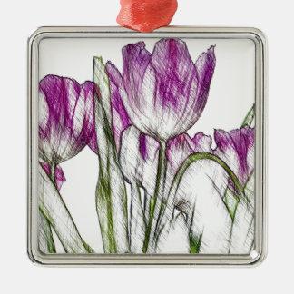 Purple Tulips Silver-Colored Square Decoration