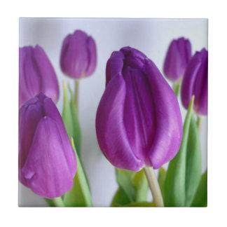 Purple Tulips Small Square Tile