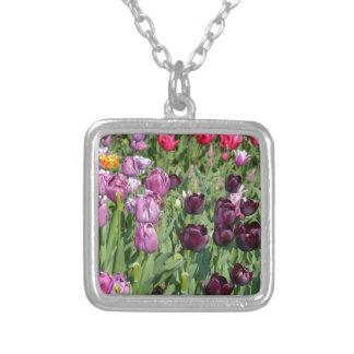 Purple tulips square pendant necklace