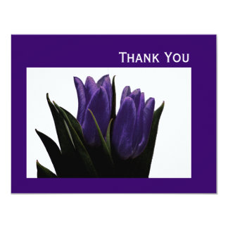 Purple Tulips Thank You Card 11 Cm X 14 Cm Invitation Card