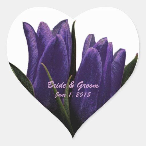 Purple Tulips Wedding Stickers