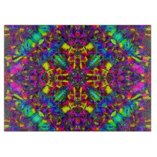 Purple Turquiose and Yellow Mandala Pattern Cutting Board