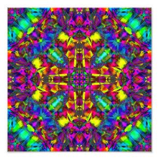 Purple Turquiose and Yellow Mandala Pattern Photographic Print