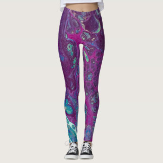 Purple turquoise bubble leggings