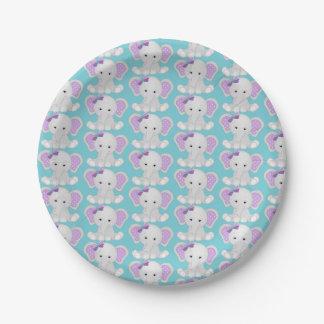 Purple Turquoise Elephant Paper Plates