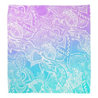 Purple turquoise mermaid watercolor floral lace bandana