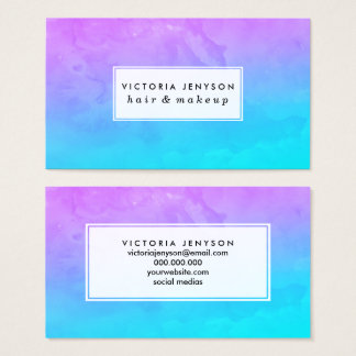 Purple turquoise mermaid watercolor ombre paint business card