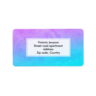 Purple turquoise mermaid watercolor ombre paint label