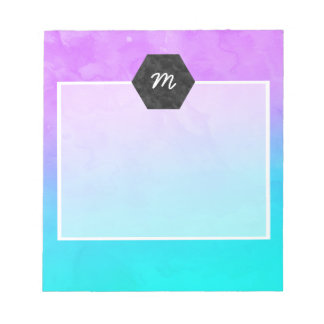 Purple turquoise mermaid watercolor ombre paint notepad
