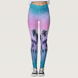 Purple-turquoise Palmtrees Leggings
