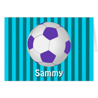 Purple Turquoise Personalized Soccer Note Cards