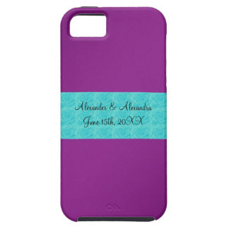 Purple turquoise roses wedding favors iPhone 5 cover